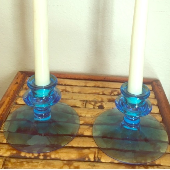 Vintage Other - 2 Matching Aqua Blue Glass Vintage Candle Holders
